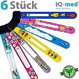 Notfall-Armband für Kinder von iQ-med | 6er Set, wasserfest, mit jedem Kulli beschreibbar | wiederverwendbar