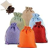 24 Pcs Sacs de Toile de Jute Pochettes de Bijoux avec des Cordons pour Les Cadeaux de faveur de Noce Emballage DIY,Calendrier