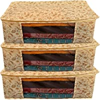 Kuber Industries Metalic Print 3 Piece Non woven Saree Cover Set, Brown