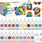 AJOXEL Tie Dye Kit, 20 Textilfarben Set Farbstoff mit Gummibänder & Handschuhe usw, Batikfarben Stofffärben Set Krawattefärbe