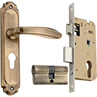 Spider Solid Brass Mortice Cylindrical Lock Set with Antique Brass Finish (FB41SAB + SCLCA), (HSN Code:83014090)