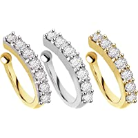 chandrika pearls gems & jewellers Sania Mirza Style Without Piercing Clip on Pressing Type Nose Ring for Women & Girls