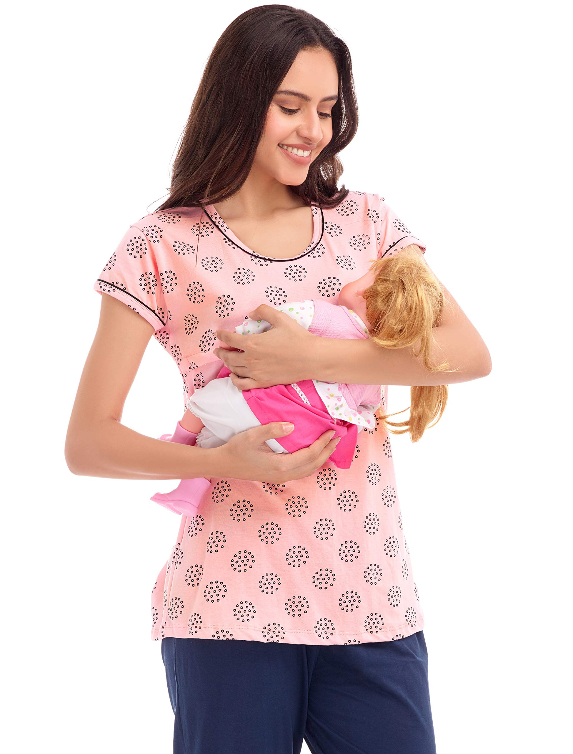 3ba72e2bd6 ZEYO Women s Cotton Pink Unique Print Feeding Top – Buy Bestow