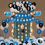 Party Propz Boss Baby Theme Decorations Combo Set With Fairy Led Light - 53Pcs Happy Birthday Bunting; Blue White BlackMetall