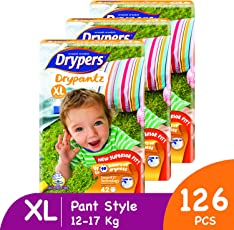 Drypers Drypantz Extra Large Size Pant Diaper (Monthly Pack, 128 Counts)