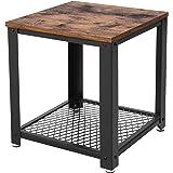 VASAGLE Table d'Appoint Table Basse avec Rangement Armature en métal pour Cuisine, Chambre Style Industriel Look Vintage Aspect usagé Table rétro LET41X