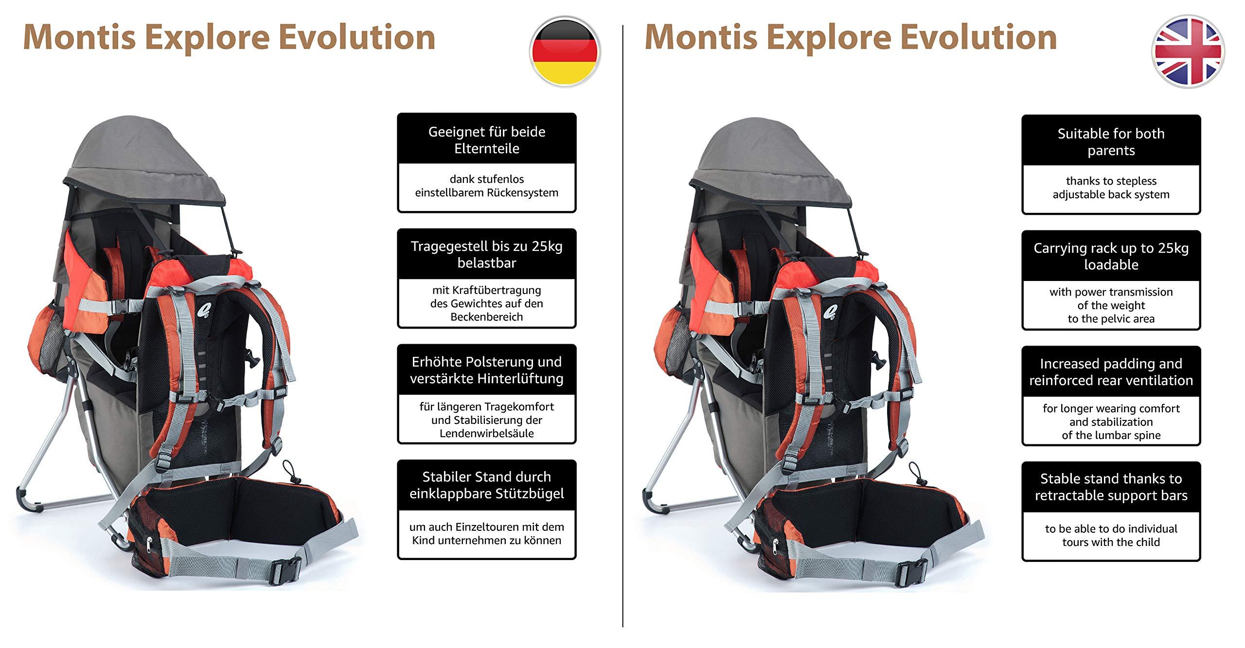 813HbFm5tSL - Montis Explore Evolution - Mochila portabebés (Carga máxima de 25 kg), Color Naranja y Rojo (2000 gr)