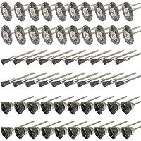 Lot de 60 outils rotatifs Cnmade en acier à tige de 3 mm pour meule Dremel Die Grinder avec brosses de nettoyage, brosses rondes et kit de polissage