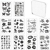 Tampon Silicone Scrapbooking, 10 Pièces Tampons Transparents avec 1 Pièces Tampon Encreur Acrylique 10x10 cm, Tampons Clear S