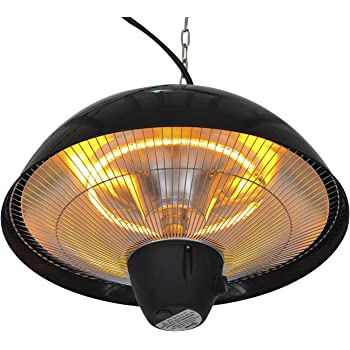 Outsunny 1500 W Outdoor Ceiling Mounted Aluminium Halogen Electric Hanging Patio Heater Light with Remote Control - Black