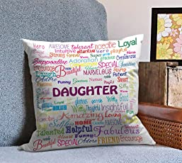 Tied Ribbons Daughter Birthday Gift Printed Cushion (12 inch X 12 inch with Filler)