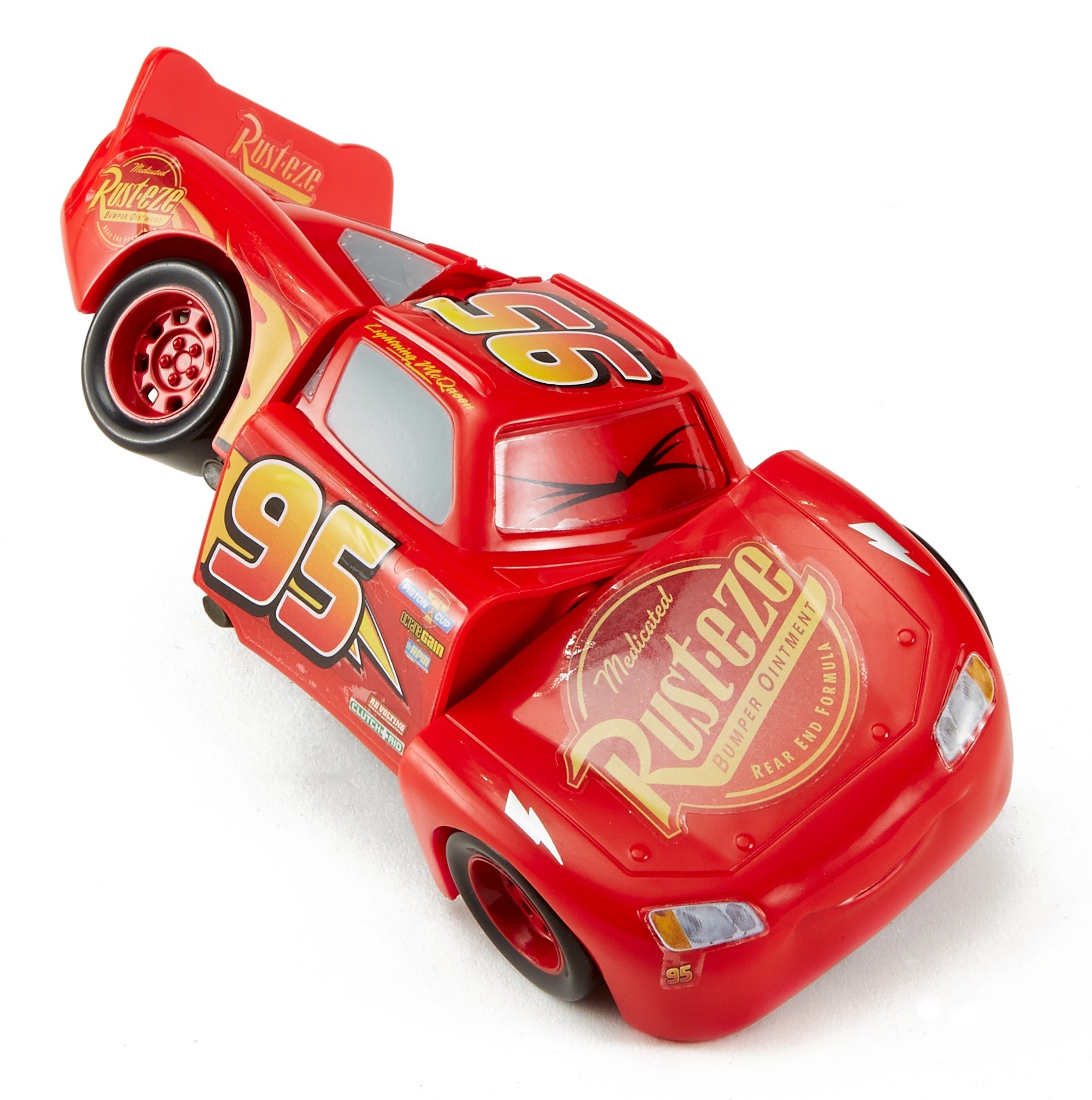 Disney DYW39 Pixar Cars 3 Race and Reck Lightning McQueen Vehicle Disney New Disney Pixar Cars 3 Twisted Crashers vehicle.  His body twists and his eyes change after the crash!  Restore him to his former; pre smash glory by simply twisting the car back into place! 10