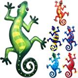 6 Pieces Metal Gecko Wall Art Decoration 9 Inches Lizard Art Wall Decorations Inspirational Sculpture Patio Lawn Fence…