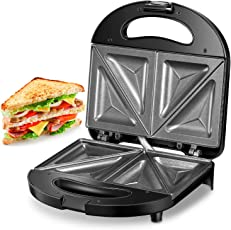 Kealive Sandwichmaker, Sandwichtoaster(750W, Antihaftbeschichtet, Muschel Edelstahl, Antihaftbeschichtung), Tisch-Grill mit 2 Kontrollleuchten, Schwarz