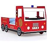 Deuba Lit Enfant Design Camion Pompier Lit pour Enfants avec sommier à Lattes Inclus - 205x94,5x103cm
