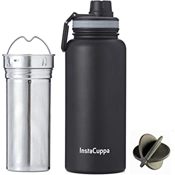 InstaCuppa Thermos Infuser Water Bottle 470 ML, Stainless Steel Infusion Unit, Double Walled Vacuum Insulated Detox Flask, Fruit Infused Detox Recipes eBook, 2 Lids (Black)