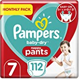 Pampers Baby Nappy Pants Size 7 (17+ kg/37.5 Lb), Baby-Dry, 112 Count, MONTHLY SAVINGS PACK, Easy-Up Pull On Nappies