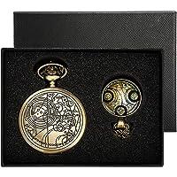 Yisuya, orologio da tasca Doctor Who stile retrò, vintage, color bronzo con catena, da uomo e ragazzo, catenina con…