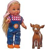 Simba 105737108 - Evi Love Puppe mit Latzhose und Farm Tier, 2-sort.