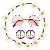 Widmann 95718 Hippie Set de Fleurs avec Boucles d'oreilles et Lunettes