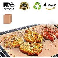 Tapis de Cuisson, TACKLIFE Set de 4 Tapis Barbecue BBQ , 100% anti-adhérent, Tapis Feuille de Cuisson réutilisable et facile à nettoyer, certifié par FDA, Barbecue sain, convenant pour Barbecue à Gaz, Charbon ou Four électrique -41 x 33 cm (d'or) GBGM2A