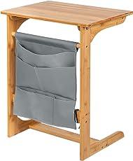 SONGMICS Beistelltisch aus Bambus, Sofa Beistelltisch Couch, Laptoptisch für Sofa, Bett, Mobiler Kaffeetisch sofatisch Couchtisch mit hängender Aufbewahrungstasche, Wohnzimmertisch, 50 x 62 x 35 cm (B x H x T), naturfarben und grau, LNT53Y