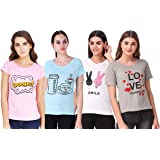 NIVIK Women's T-Shirt (Pack of 4) (CMB4-TSHIRT-RED-BLK-GRN-YLW-S_Assorted_Small)