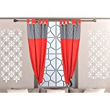Alemah Cotton Fabric Checkered Tab Top Button Type Loop Room Darkening Window Curtain, 4 X 5 Feet, Red, Pack of 2