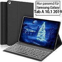 SENGBIRCH Tastatur Hülle für Samsung Galaxy Tab A 10.1 2019, Samsung Tab A T510N/T515N Hülle mit Deutsche Tastatur für Galaxy Tab A 10,1 Zoll - Schwarz