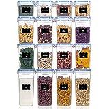 Vtopmart boîtes de Conservation Alimentaire sans BPA de Nourriture en Plastique avec Couvercle,Ensemble De 16 + 24 Étiquettes