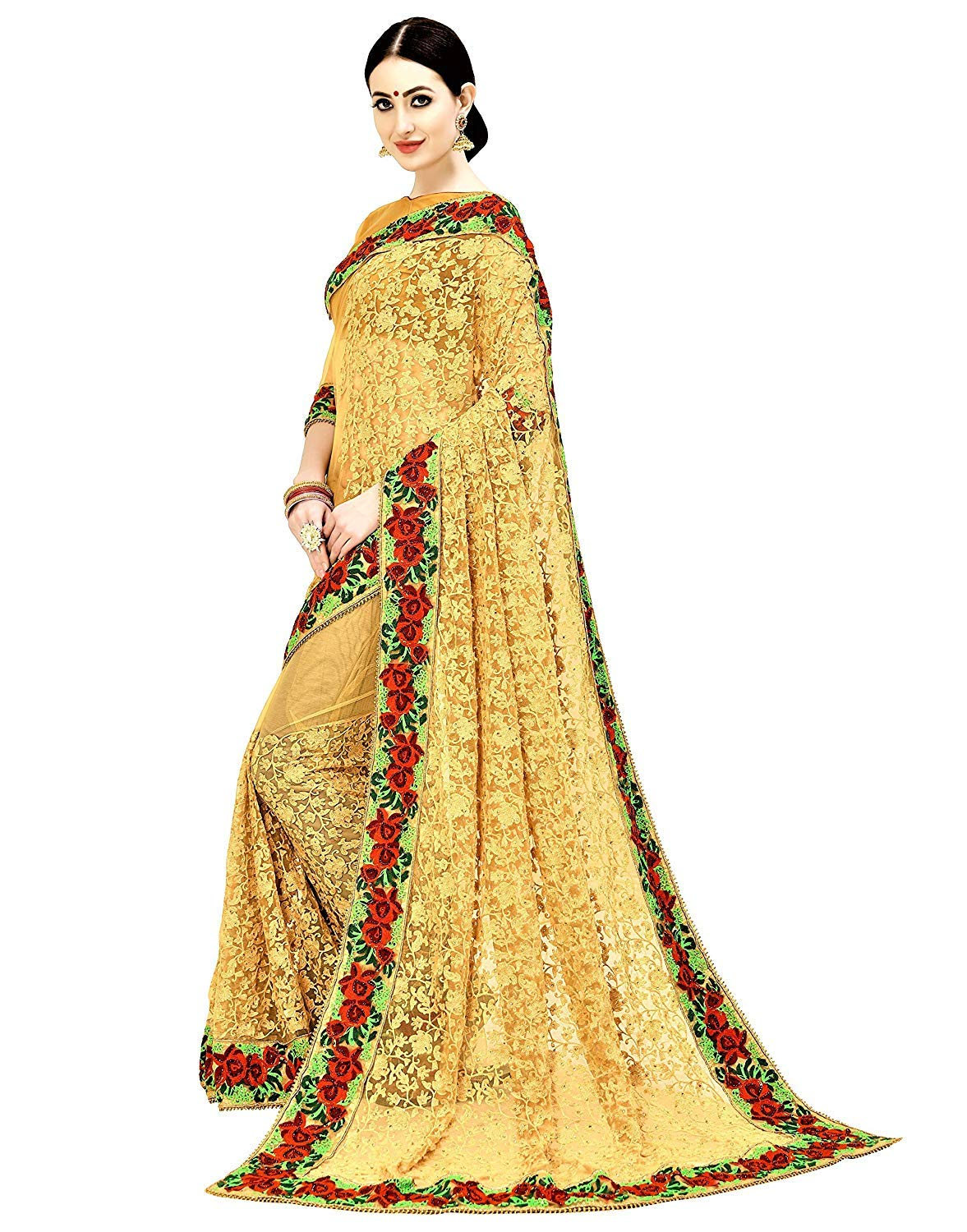 564b48a349f509 Arohi Designer Net Embroidered Saree with blouse piece (Mustard-Free Size)
