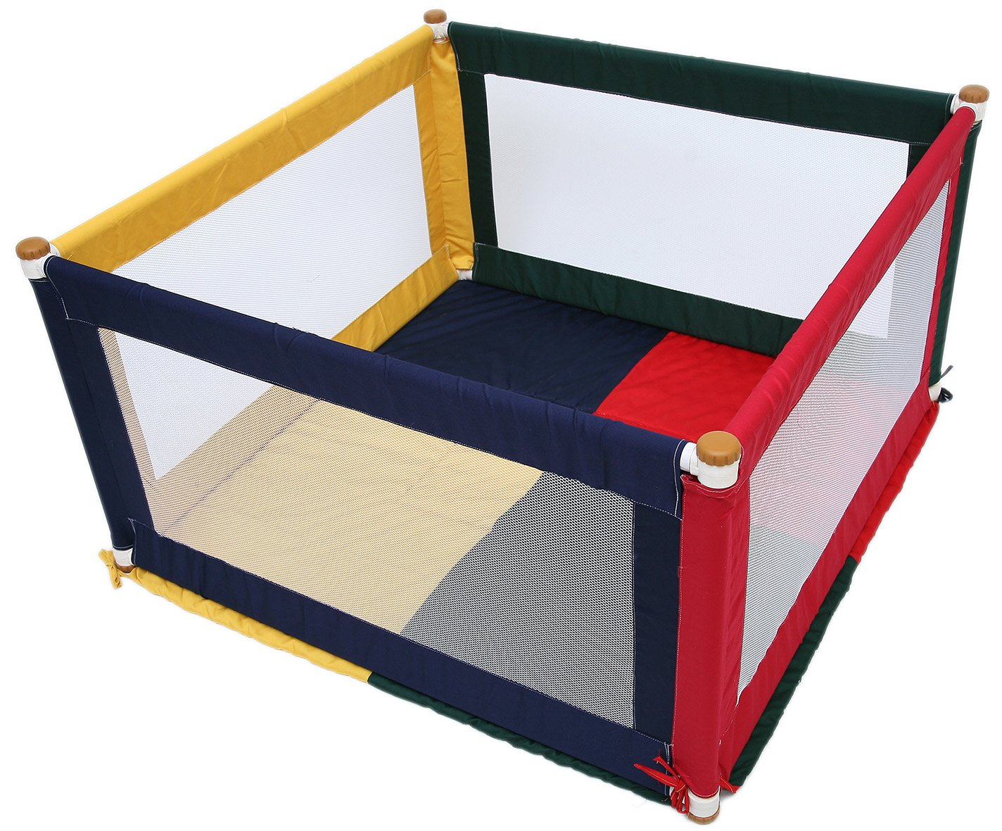 TikkTokk Pokano Fabric Playpen/Mat (Square, Colourful) TikkTokk Fabric Baby Playpen - keep baby safe & secure whilst providing a large play area Crafted in beautiful, durable polycotton Thick padded, fitted floor mat 1