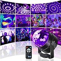 UV Schwarzlicht Discokugel,Mini Disco licht mit Fernbedienung und Soundkontrolle, Led Bühnenlicht perfeckt für…