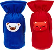 Cutieco Baby Feeding Bottle Cover with Attractive Cartoon, Red and Dark Blue (Pack of 2)