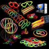 JOYIN 200 Pcs Braccialetti Luminosi, 7 Colori Fluorescenti Bastoncini Starlight Con 256 connettori, per Creare Bracciali e Ci