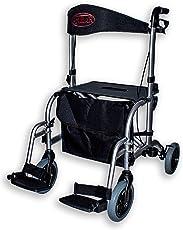 Antar 13709 Premium Hybrid-Rollator Aluminium und Rollstuhl in einem, Transportstuhl, faltbar
