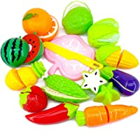 Kingwell Realistic Sliceable Cutting Fruits and Vegetables Play Educational Toys Set for Kids