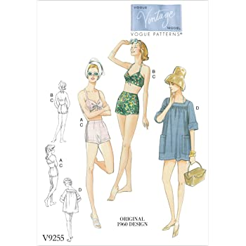 Vogue Mustern Schnittmuster BH/Shorts und Verschleierung, Mehrfarbig ...