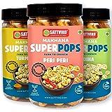 Sattviko Roasted Makhana Superpops Healthy Snacks Namkeen Multi Flavor Pack Peri Peri + Pudina + Turmeric, (3x67 gm)   Lotus