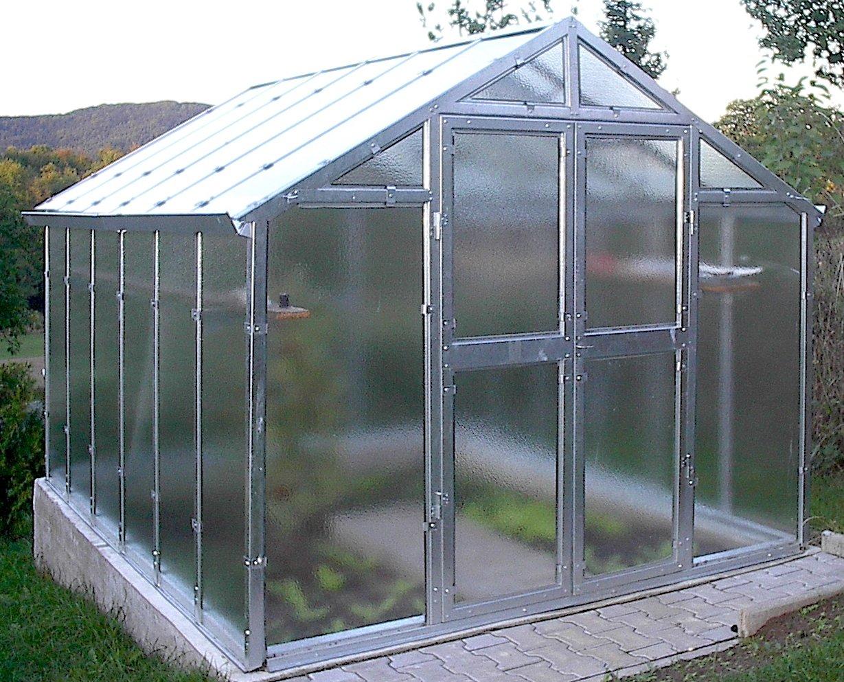 Gewächshaus Kärnten NEU aus verzinkten Metallprofilen und Echt-Glas, Breite 2,76 m (Länge 3,06 m)