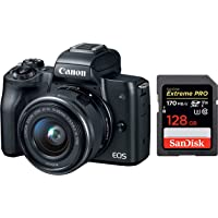 Canon EOS M50 24.1MP Mirrorless Camera (Black) with EF-M 15-45 is STM Lens + SanDisk 128GB Extreme Pro SDXC UHS-I Card…