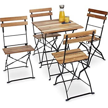 Relaxdays Gartenstuhl 4er Set, Klappbar, Metall, Naturholz, Ohne Armlehnen,  H X