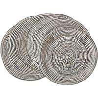 SHACOS Lot de 6 Sets de Table en polypropylène tressé et Coton Set de Table Rond Gris