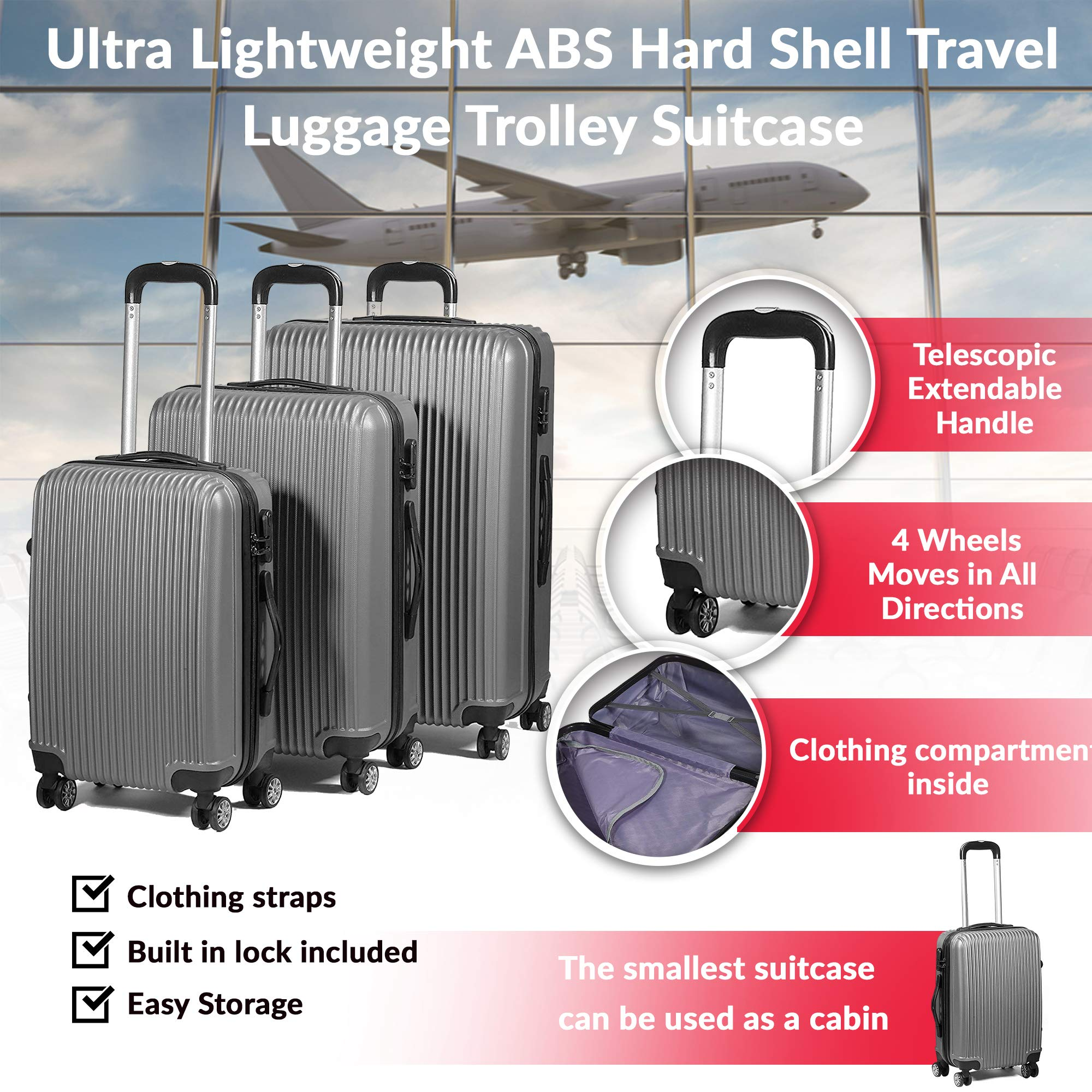 761105c8676a 3 Piece Ultra Lightweight ABS Hard Shell Travel Luggage Trolley Suitcase  Set - 4 Wheels/Moves in All Directions - Cabin Size Included - Telescopic  ...