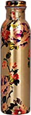 IndianArtVilla Printed Flower Design Copper Bottle, Storage Water & Travelling Purpose, 1000 ML