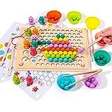 Rolimate Holzspielzeug Angelspiel Magnetisches Holzpuzzle Brettspiel, Clip Perlen Montessori Vorschule Spielzeug für Kinder,