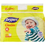 Drypers Classic Open XL Sized Diaper (32 Counts) (Taped Diaper)