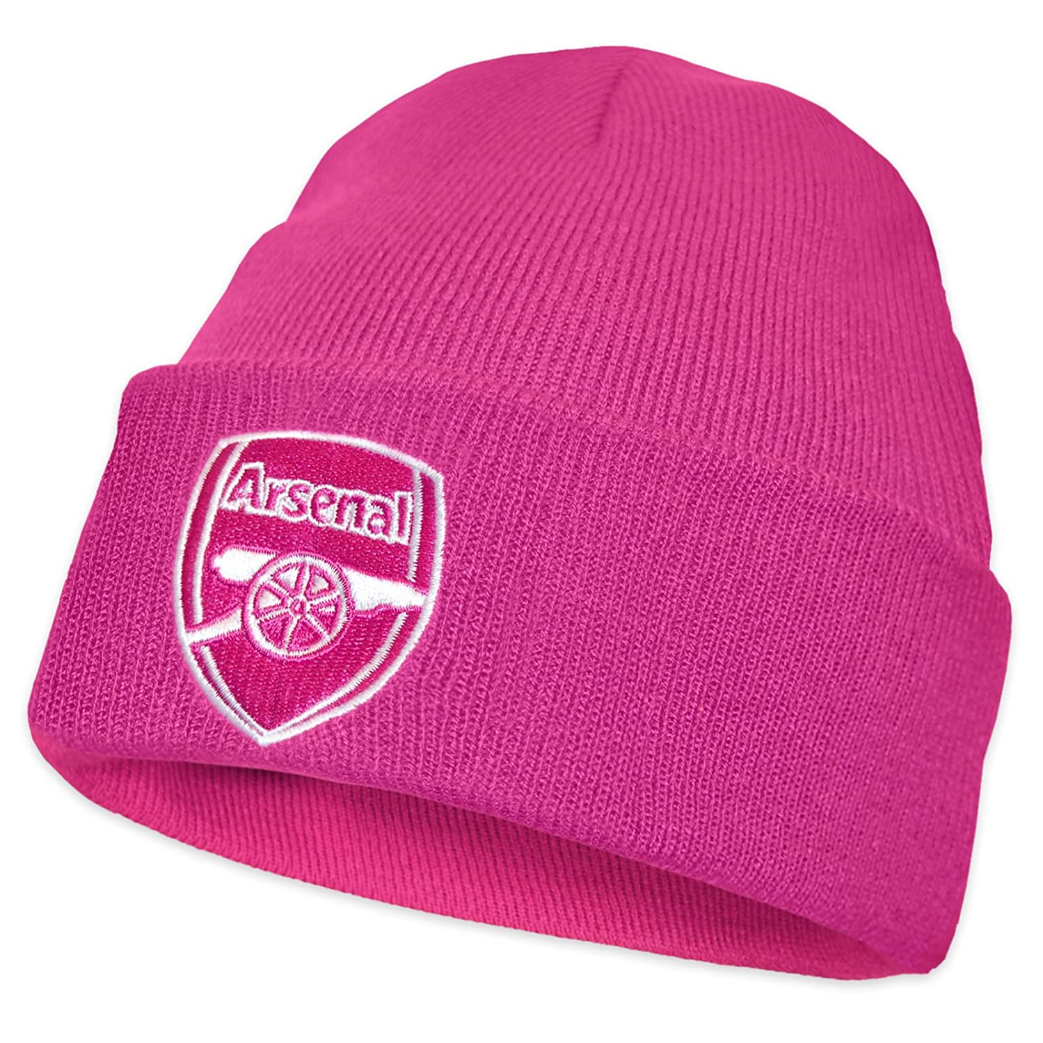 2a711323bce Arsenal FC Official Football Gift Knitted Bronx Beanie Hat Navy Red Trim   Amazon.co.uk  Clothing