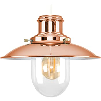 c6f0f4c57c2 MiniSun - Modern Polished Copper Metal And Glass Fisherman s Vintage Style  Lantern Easy Fit Ceiling Lamp Pendant