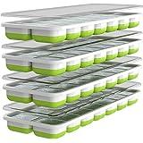 Oliver's Kitchen - Juego de 4 x Moldes de Cubitos de Hielo - Base Flexible para una Extracción Fácil - Tapas Apilables Antide